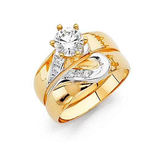 - 14k Two Tone Gold SOLID Engagement Ring and Wedding Band 2 Piece Set - Size 8