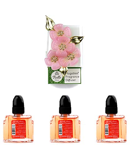 Cherry Blossoms Premium Plugables Electric Scented Oil Diffuser Home Fragrancer with 3 (Wild Flowers) Aroma Oils