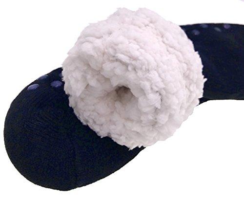Moggei Hombres Fuzzy Grueso Invierno Polar Forrado Invierno Cálido Casa Interior Home Slipper Calcetines Azul Oscuro