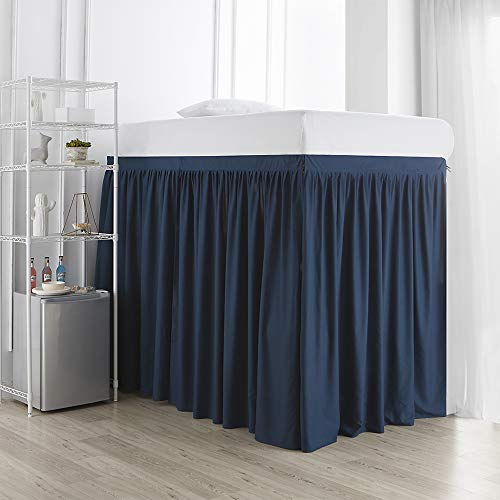 Extended Dorm Sized Bed Skirt Panel with Ties (3 Panel Set) - Nightfall Navy (for Raised or lofted beds)