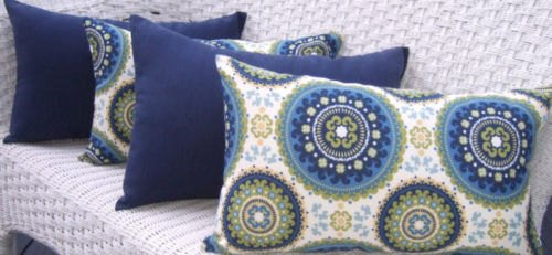 Set of 4 Indoor / Outdoor Decorative Lumbar / Rectangle Pillows - 2 Blue, Green Bohemian & 2 Solid Navy Blue by Resort Spa Home Decor