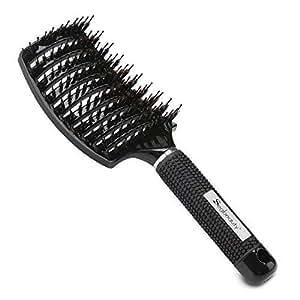 Black Boar Bristle Brush for Healthy Sexy Hair, Nylon ...