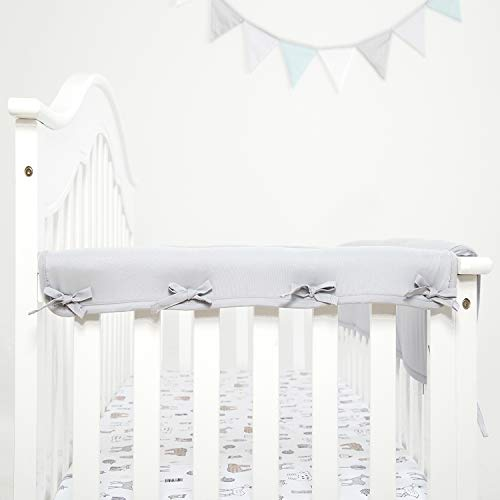(TILLYOU 2-Pack Padded Baby Crib Rail Cover Protector Safe Teething Guard Wrap for Narrow Side Crib Rails(Measuring Up to 8