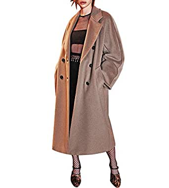 Hego Women's 2016 Fashion Turn-down Collar Double Breasted Long Wool Coat H3223 (S, Brown)
