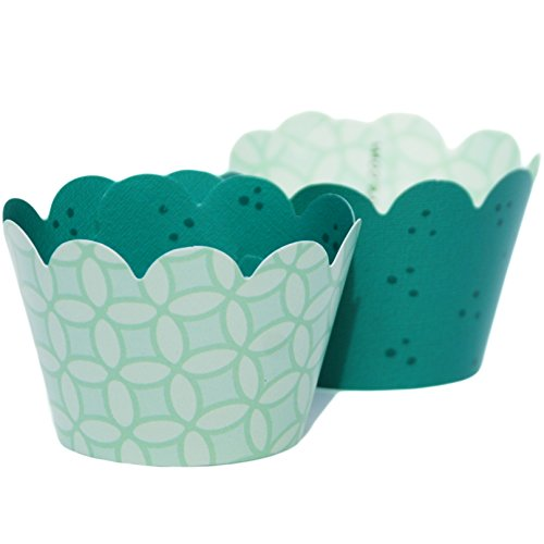 MINI Mint Green Cupcake Wrappers Teal Polka Dots, 50's Retro Design, 24 Wraps, Confetti Couture Party Supplies
