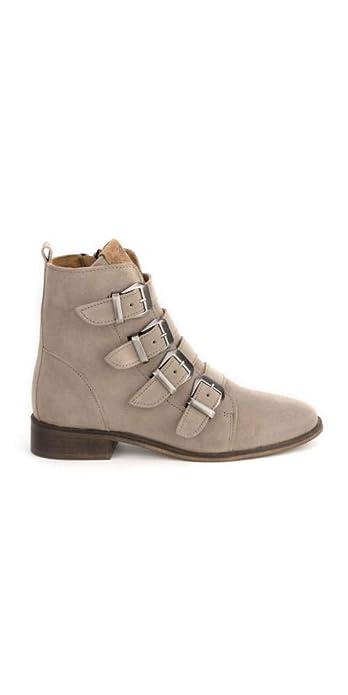Botines Hebillas Serraje Beige PERA LIMONERA: Amazon.es: Zapatos y complementos