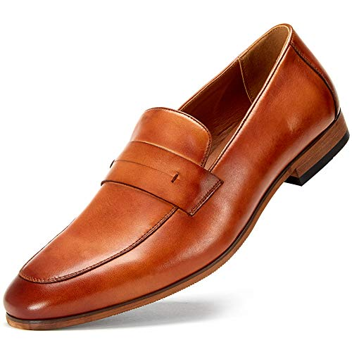 ress Shoes - Black Genuine Leather Bussiness Formal Shoes for Men, Brown Slip on Shoes MS006-TAN-7.5 ()