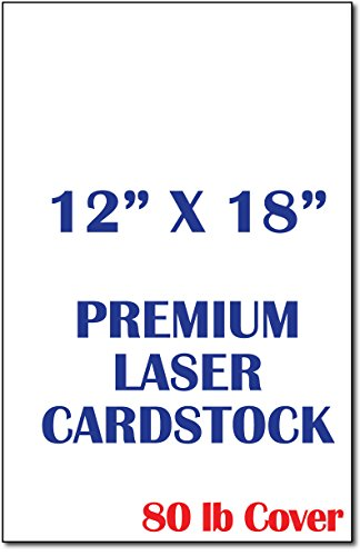 12'' x 18'' Large Cardstock Sheets for Laser Printers - 80lb Cover - White - Perfect for Flyers, Menu's, Posters - 50 Sheets by Desktop Publishing Supplies, Inc.