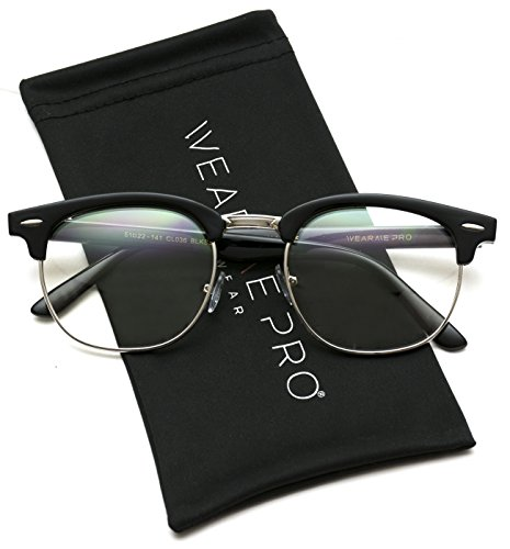 Vintage Inspired Classic Half Frame Horn Rimmed Clear Lens Glasses (Thin Black/Silver, ()