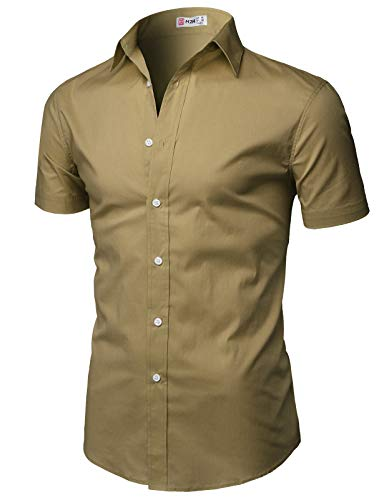 H2H Men's Casual Cotton Linen Short Sleeve Shirts Beige US XL/Asia 2XL (KMTSTS0134) ()