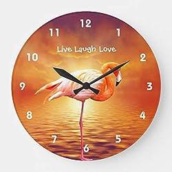 Enidgunter Live Laugh Love Pink Flamingo Beach Nursery Wooden Wall Clock Roman Numerals 12 inches Kids Clock