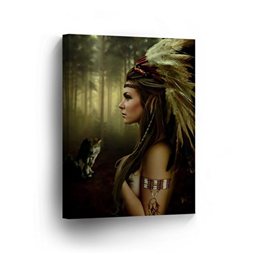 INDIAN WALL ART Native American Sexy Nude Woman and the Wolf Naked Canvas Print Home Decor Decorative Artwork Gallery Wrapped Wood Stretched and Ready to Hang -%100 Handmade in the USA - 12x8