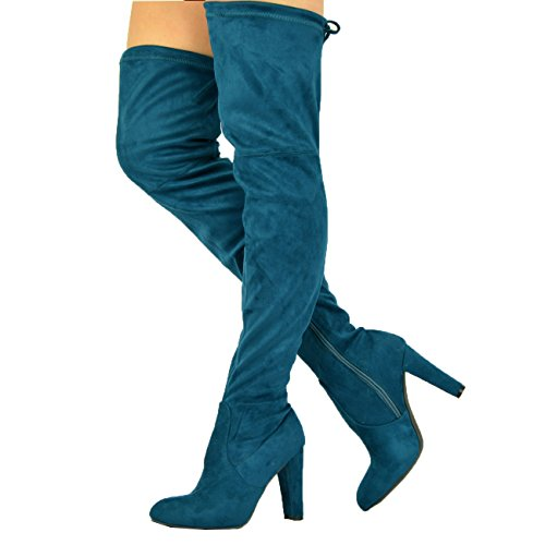 New para mujer más de la rodilla botas–lateral con cremallera bloque de alta talón zapatos tamaño UK 3–