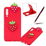 TPU Case for Samsung Galaxy A7 2018,Soft Rubber Cover for Samsung Galaxy A7 2018,Herzzer Ultra Slim Stylish 3D Strawberry Series Design Scratch Resistant Shock Absorbing Flexible Silicone Back Case