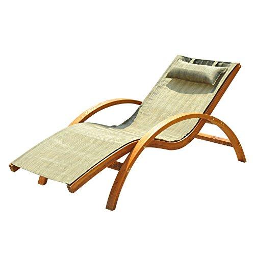 lining Mesh Lounger Chair w/ Cushion - Teak and Light Green (Pool Lounger Cushion)