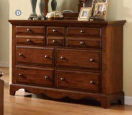 Bedroom Solid Wood Dresser - Palm Coast Solid Wood Light Walnut Finish Bedroom Dresser