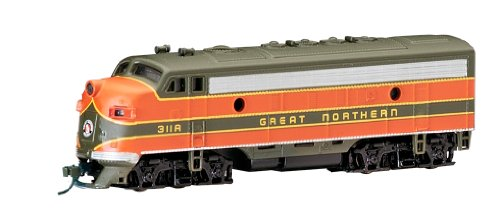 Emd F7a Unit - Bachmann Industries EMD F7-A Diesel Locomotive DCC Equipped Great Northern Train Car, Green/Orange, N Scale