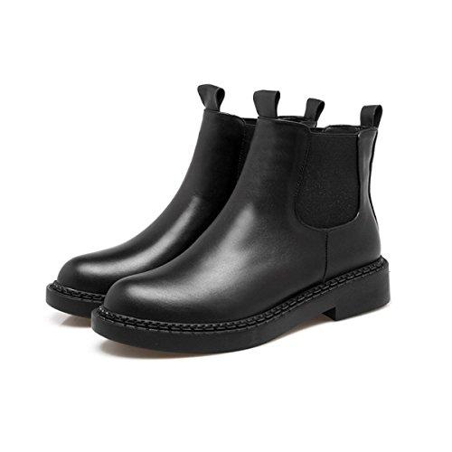 Ladies De Round Black Bottes Head Mode Boots Chelsea WJNKK UqdwPRU
