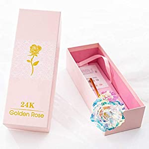 Dream Loom 24k Golden Plated Rose,Long Stem Dipped 24k Gold Artificial Rose Flowers in Gift Box,Best Her,Everlasting Love 44