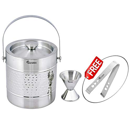 Kosma Stainless Steel Ice Bucket Double Wall 1.5 Litre with Peg Measure Jigger 1 x 2 oz and Ice Tong 5.5'' by Kosma (Image #3)