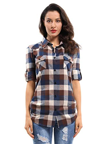 OCHENTA Women's Long Sleeve Button Down Plaid Flannel Shirt D044 Coffee Blue White 2XL