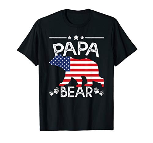 (American Flag Papa Bear 4th of July shirt Father day Dad Tee)