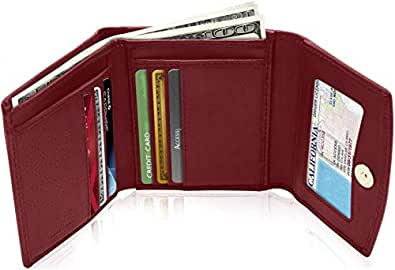 Small Leather Trifold Wallets For Women - Slim Womens Wallet Card Holder ID Window Coin Purse Gift Box RFID Blocking
