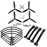UUMART Syma X8C X8G X8W X8HC X8HW RC Quadcopter Spare Parts Upgraded Propeller+Protector+Landing Skid -Black