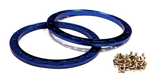 Integy RC Model Hop-ups C23608BLUE Outer Blue Ring (2) for Beadlock Wheel O.D. 102mm (Beadlock Outer Rings)