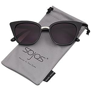 SojoS Cat Eye Brand Designer Sunglasses Fashion UV400 Protection Glasses SJ2052 with Black Frame/Gradient Grey Lens