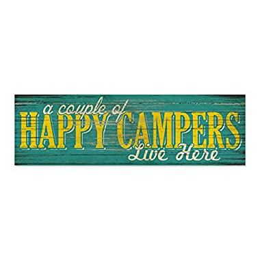 Happy Campers Rustic Wall Decor Camping Sign - Handmade from 3/4  thick Poplar Wood -  A Couple of Happy Campers Live Here