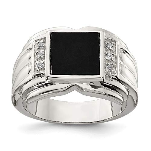 Ring Dad Onyx (925 Sterling Silver Mens Cubic Zirconia Cz Black Onyx Band Ring Size 11.00 Man Fine Jewelry Gift For Dad Mens For Him)