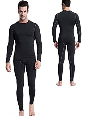 Mens Thermal Baselayer Crew Neck 2pc Long Johns Thin Underwear Set