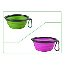 CROMI 2-pack Collapsible Dog Bowl, Foldable Expandable Cup Dish for Pet Cat with Free Carabiner(Green/Purple)