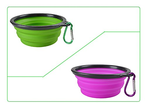 Cheap CROMI 2-pack Collapsible Dog Bowl, Foldable Expandable Cup Dish for Pet Cat with Free Carabiner(Green/Purple)