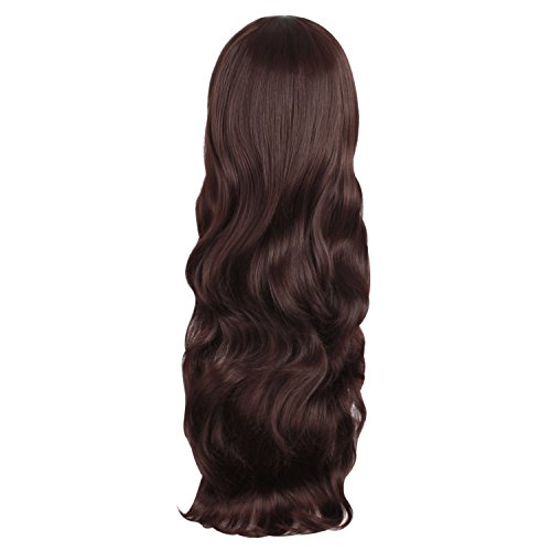 MapofBeauty Curly Long Ladies Sexy Womens Wave Full Wigs Party Wig (Dark Brown)