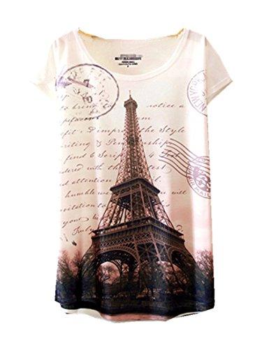(YICHUN Women Girls Tops Thin T-Shirt Tees Blouse Casual Wear Tunic (Eiffel Tower)