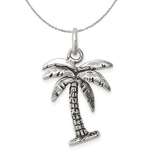 (Sterling Silver 3D Antiqued Palm Tree Necklace - 20)