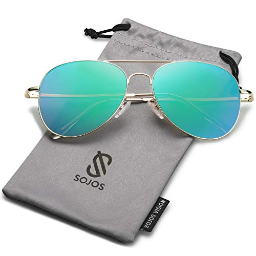 - SOJOS Classic Aviator Mirrored Flat Lens Sunglasses Metal Frame with Spring Hinges SJ1030 with Gold Frame/Greenish Blue Mirrored Lens