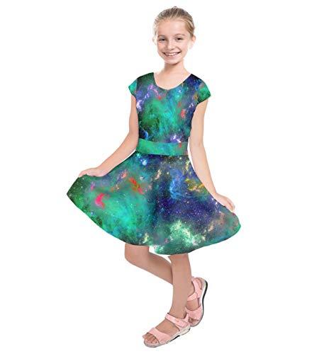 ecc58f0c7c4ac PattyCandy Girls Celestial Sky Galaxy Art Starry Night Designs Casual Short  Sleeve Dress,Size: