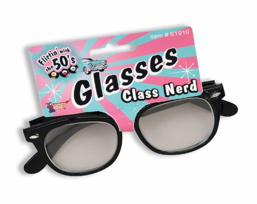 50s Teacher Costume (Forum Novelties 1950's Class Nerd Cracked Lens Black Frame Costume Glasses)