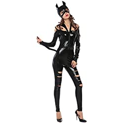 Women Catwomen Costume - Sexy Adult Cut Off Halloween Leather Catsuit Costume