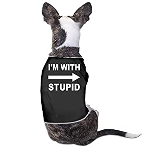 Nicokee Puppy Dogs Shirts Costume I'm with Stupid Pets Clothing Warm Vest T-Shirt