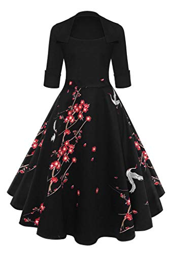 Befily Dress Retro 3 Plum 1950s' Womens Flowy Lapel Dress Cocktail Vintage Black 4 Floral Blossom Party Sleeve RrwxFRO