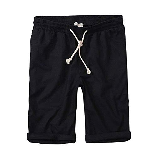 Fuweiencore Décontracté La Bermuda Avec Homme Noir Élastique Taille Pantalon X À Cordon De large Noir coloré Genou Pour rPqrBw