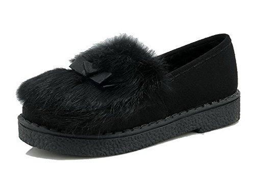 VogueZone009 Damen Rein Mattglasbirne Niedriger Absatz Ziehen auf Rund Zehe Pumps Schuhe Schwarz