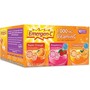 Emergen C Dietary Supplement Fizzy Drink Mix with 1000mg Vitamin C, 0.32 Ounce Packets, Caffeine Free
