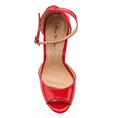 L avec Automne PU Party Fin Hauts Printemps Formelles Femmes Acier YC en Chaussures Talons amp; red des Dress Soirée 22cm Haute Ultra des rvHFrc
