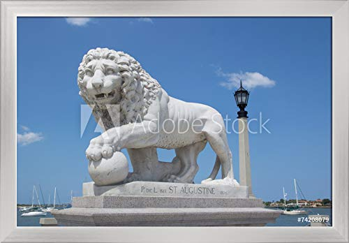 St. Augustine, Florida - Medici Lion Marble Statue - Photography A-92564 (24x16 Giclee Art Print, Gallery Framed, Silver Wood)