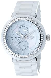 Fossil Women's CE1008 White Ceramic and Stainless Steel Bracelet White Glitz Analog Dial Multifunction Watch